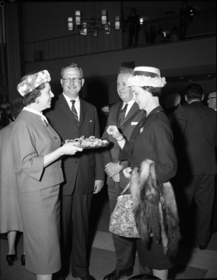 Harry and Dorothy Greb at the Waterloo Lutheran University spring convocation reception, 1963