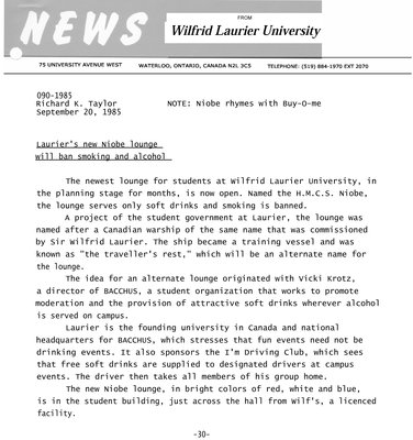 090-1985 : Laurier's new Niobe lounge will ban smoking and alcohol