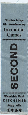 Second place ribbon, 1939 Waterloo College Invitation Games