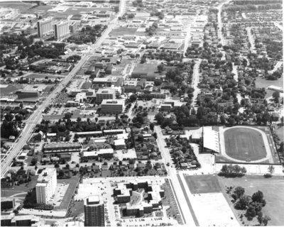Aerial view of Wilfrid Laurier University, 1980