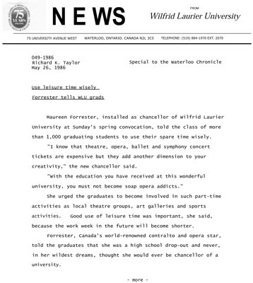 049-1986 : Use leisure time wisely Forrester tells WLU grads