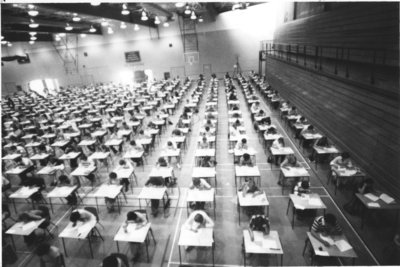 Wilfrid Laurier University students writing an exam