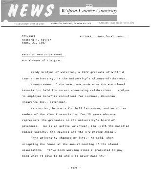 073-1987 : Waterloo executive named WLU alumnus of the year