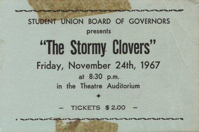 The Stormy Clovers concert ticket, 1967