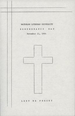 Remembrance Day Program, 1964