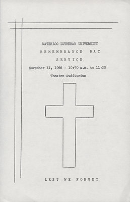 Remembrance Day Program, 1966