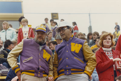 John Weir and Russell Muncaster at a Wilfrid Laurier University football game, 1986