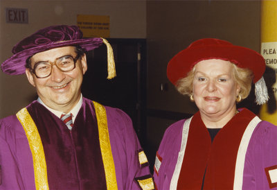 John Weir and Maureen Forrester at convocation 1986