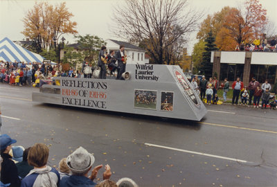 Wilfrid Laurier University float in the 1986 Kitchener-Waterloo Oktoberfest Thanksgiving Day Parade