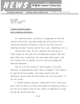 011-1988 : 3 major projects await WLU's research professor