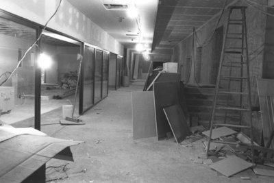 Construction of the John Aird Centre recital hall foyer