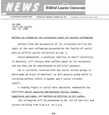 09a-1989 : Welfare as viewed by its recipients topic of Laurier colloquium