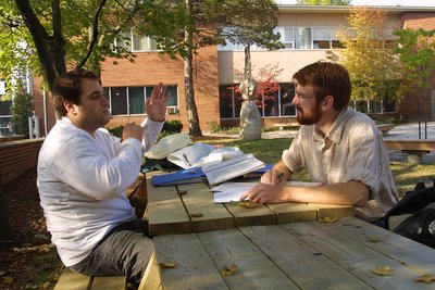 Two men on Wilfrid Laurier University campus