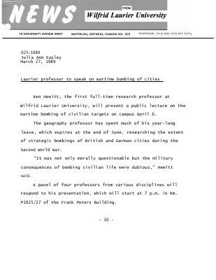 025-1989 : Laurier professor to speak on wartime bombing of cities