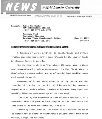 077-1989 : Trade Centre releases lexicon of specialized terms