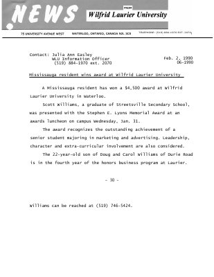 06-1990 : Mississauga resident wins award at Wilfrid Laurier University