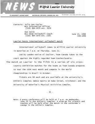 030-1990 : Laurier hosts international volleyball match