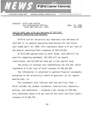 041-1990 : Laurier ends year with net decrease of $227,697 in general operating fund balance