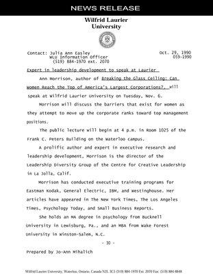 059-1990 : Expert in leadership development to speak at Laurier