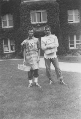Two Waterloo College students in front of Willison Hall