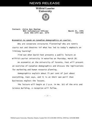 012-1991 : Economist to speak on Canadian demographics at Laurier