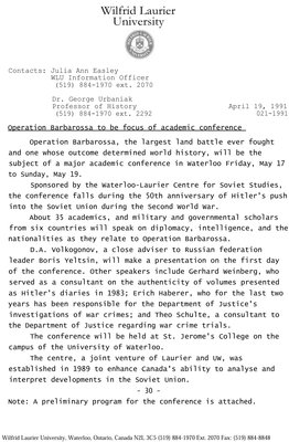 021-1991 : Operation Barbarossa to be focus of academic conference