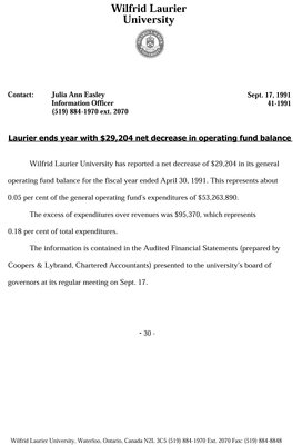 041-1991 : Laurier ends year with $29,204 net decrease in operating fund balance