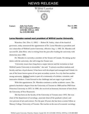 053-1991 : Lorna Marsden named next president of Wilfrid Laurier University