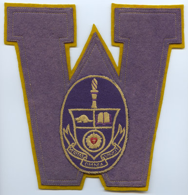 Waterloo College Letterman's letter and crest, 1932