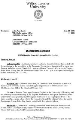 061-1991 : Shakespeare's England. Wilfrid Laurier University's Annual Public Festival