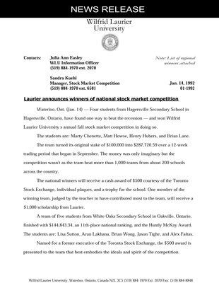 01-1992 : Laurier announces winners of national stock market competition