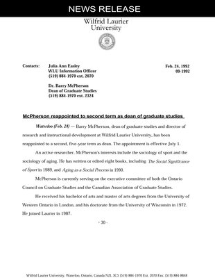 09-1992 : McPherson reappointed to second term as dean of graduate studies