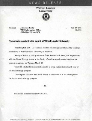 10m-1992 : Tecumseh resident wins award at Wilfrid Laurier University