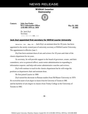 029-1993 : Jack Zeyl appointed first secretary for Wilfrid Laurier University