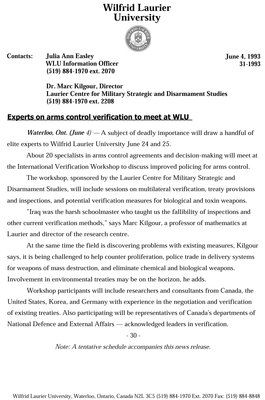 031-1993 : Experts on arms control verification to meet at WLU