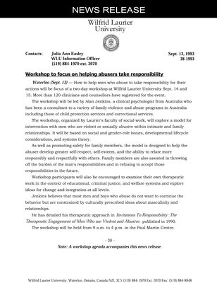038-1993 : Workshop to focus on helping abusers take responsibility