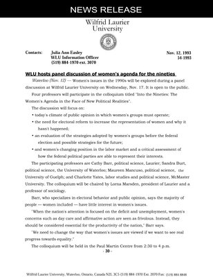 054-1993 : WLU hosts panel discussion of women's agenda for the nineties