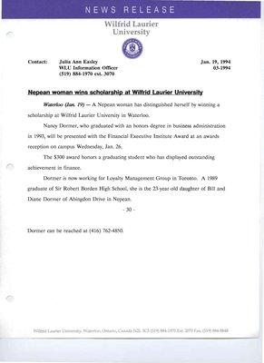003n-1994 : Nepean woman wins scholarship at Wilfrid Laurier University