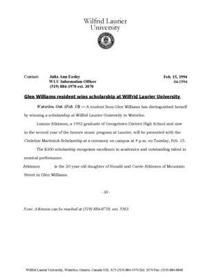 04i-1994 : Glen Williams resident wins scholarship at Wilfrid Laurier University