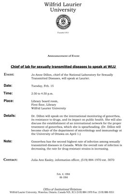 06-1994 : Chief of lab for sexually transmitted diseases to speak at WLU