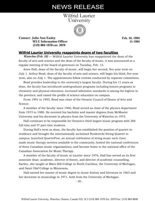 011-1994 : Wilfrid Laurier University reappoints deans of two faculties