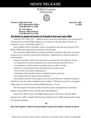 015-1994 : Jim Rush to speak at launch of Canada's first one-year MBA