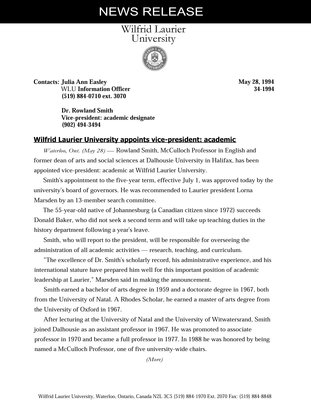 34-1994 : Wilfrid Laurier University appoints vice-president: academic