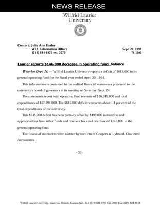 74-1994 : Laurier reports $146,000 decrease in operating fund balance