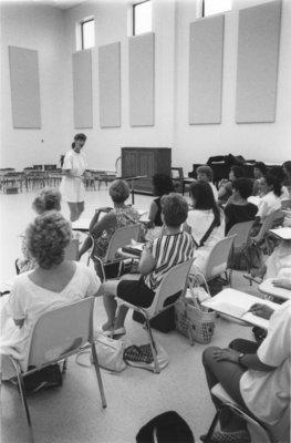 Students in John Aird Centre recital hall, Wilfrid Laurier University