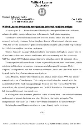 79-1994 : Wilfrid Laurier reorganizes external relations offices