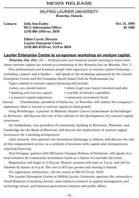 85-1994 : Laurier Enterprise Centre to co-sponsor workshop on venture capital