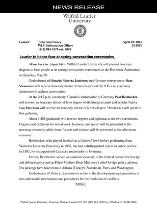 24-1993 : Laurier to honor four at spring convocation ceremonies