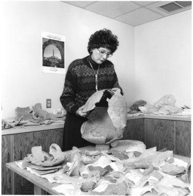 Michele Daviau with artefact