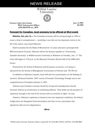 02-1995 : Forecast for Canadian, local economy to be offered at WLU event